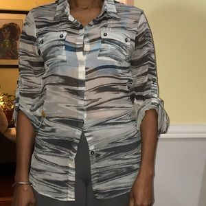 Calvin Klein sheer camp shirt with front pockets